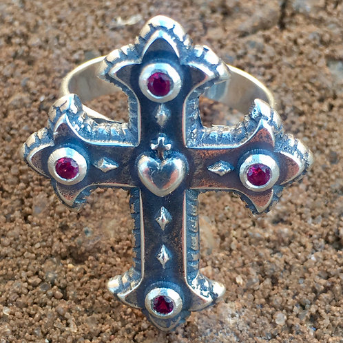 Sacred Heart Ring with red garnets