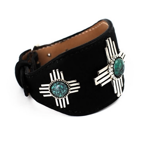 Zia Leather Cuff with Turquoise
