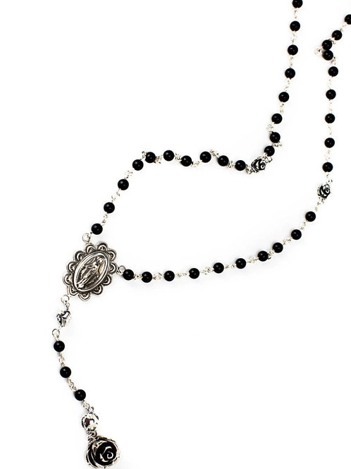 Blessed Mother Black Onyx Rosary with Roses
