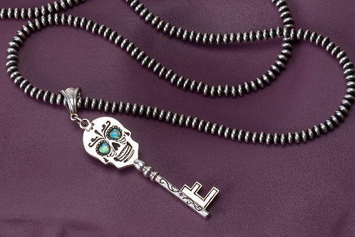 Sterling Silver Day of the Dead Skull Key with opals
