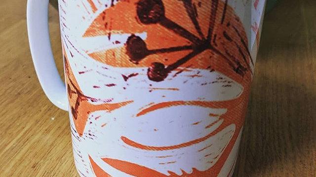 Lobster & Fennel lino print mug