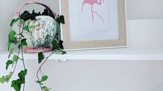 Flamingo pink lino print