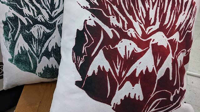 Lino printed artichoke cushions Green & Red