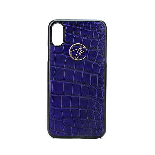Blue Crocodile Leather iPhone XS/XS Max Phone Case