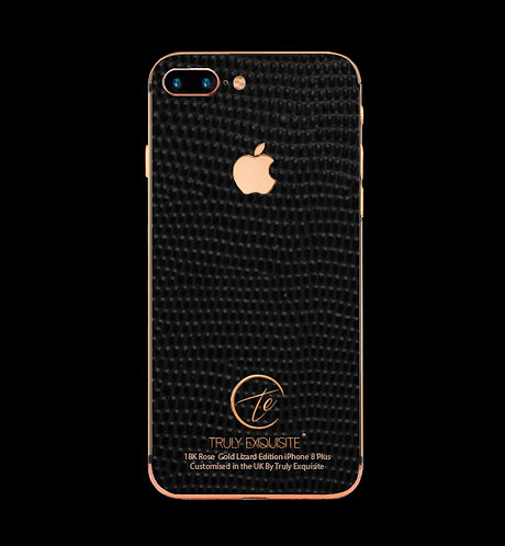 18K Rose Gold Black Lizard Edition iPhone 8 Plus