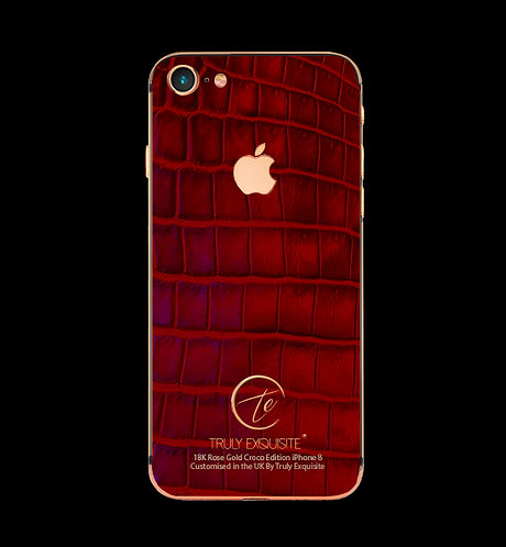 18K Rose Gold Red Croco Leather iPhone 8