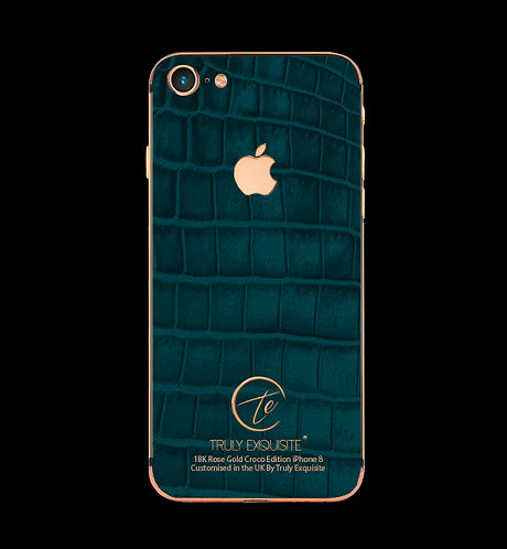 18K Rose Gold Turquoise Croco Edition iPhone 8