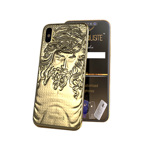 24K Gold 3d jesus iphone xs front and ba