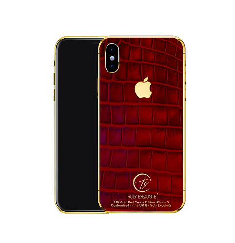 24k Gold red croco leather iPhone X