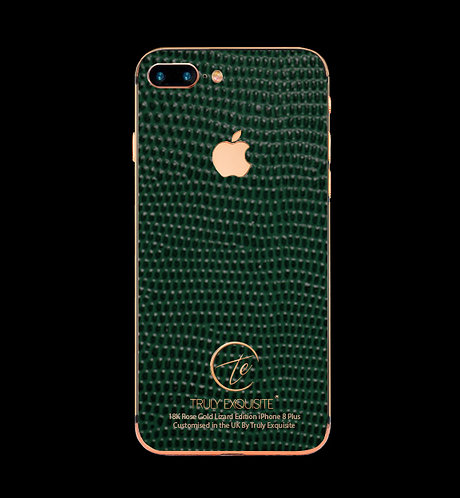 18K Rose Gold Green Lizard Edition iPhone 8 Plus