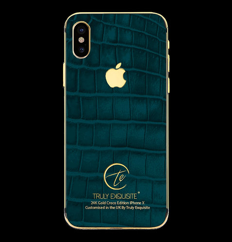 24K Gold Turquoise Croco Edition iPhone X