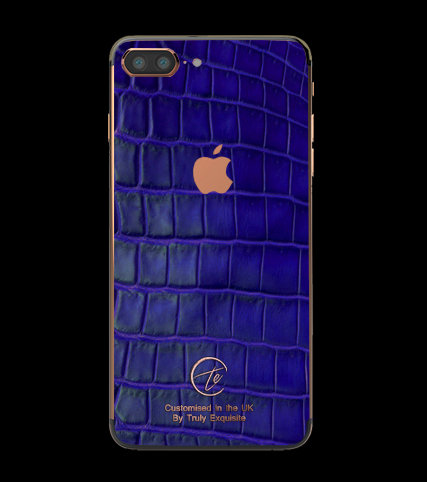 18K Rose Gold Blue Croco Edition iPhone 7 Plus