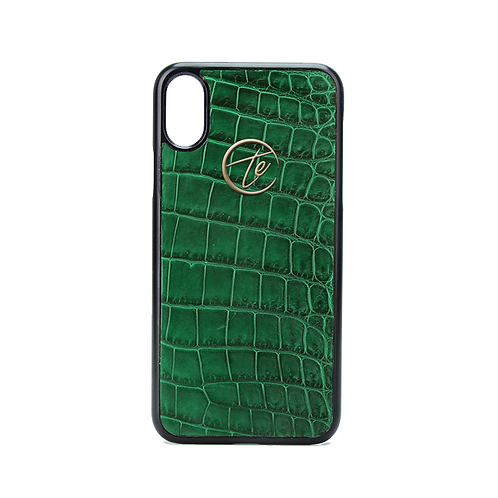 Green Crocodile Leather iPhone XS / XS Max Phone Case