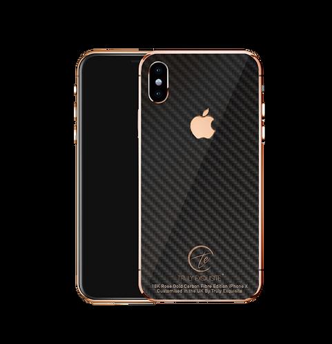 18k Rose Gold carbon fibre iPhone X