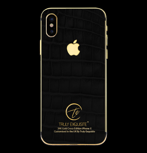 black and gold iphone 24k gold black croco edition iphone x luxury customised 13658