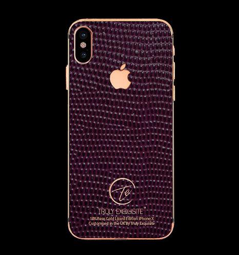 18K Rose Gold Purple Lizard Edition iPhone X
