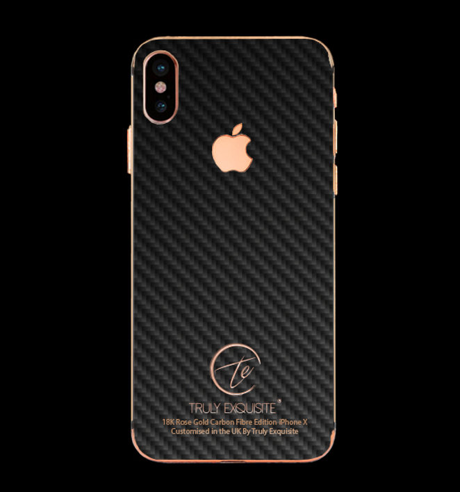 check out a3149 32a0e 18K Rose Gold Carbon Fibre Plated iPhone X | Truly Exquisite