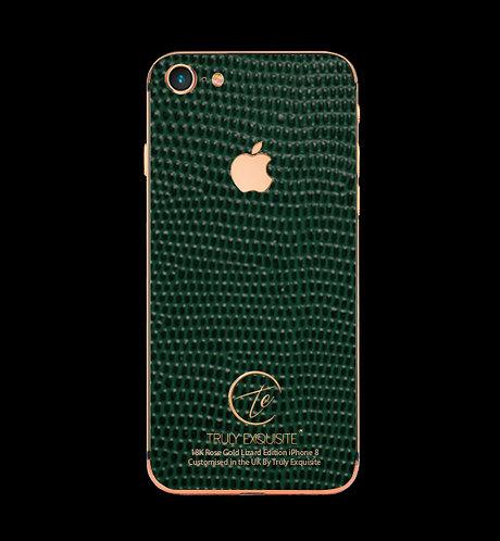 18K Rose Gold Green Lizard Edition iPhone 8