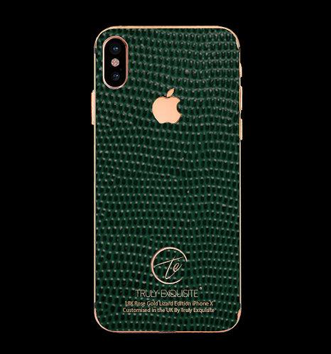 18K Rose Gold Green Lizard Edition iPhone X