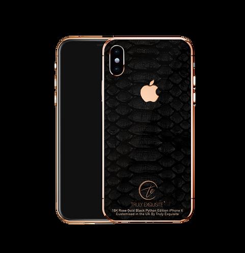 18K Rose Gold black python leather iPhone X
