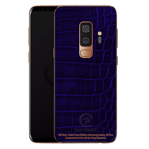 18K Rose Gold Blue Croco Leather Samsung S9 Plus