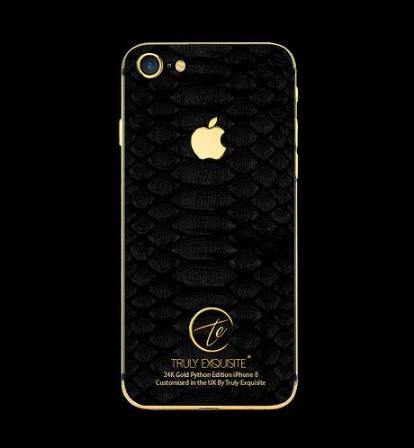 24K Gold black python leather iPhone 8