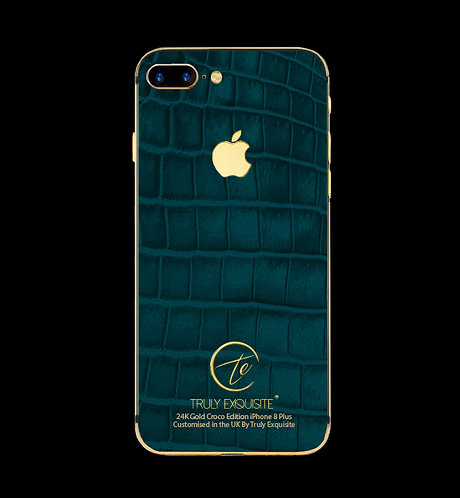24K Gold Turquoise Croco Edition iPhone 8 Plus