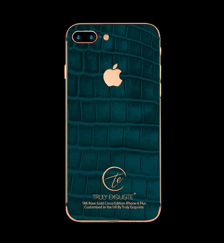 18K Rose Gold Turquoise Croco Edition iPhone 8 Plus