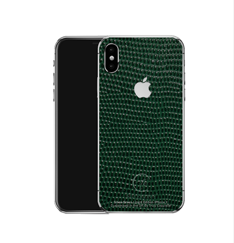 Silver green lizard leather iPhone X