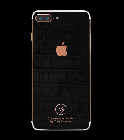 18K Rose Gold Black Croco Edition iPhone 7 Plus