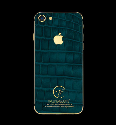 24K Gold Turquoise Croco Edition iPhone 8