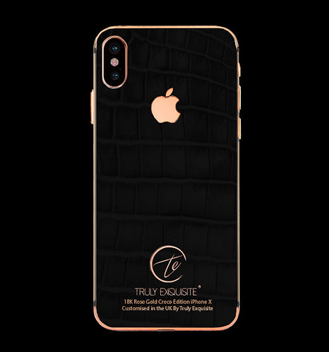 18K Rose Gold Black Croco Edition iPhone X