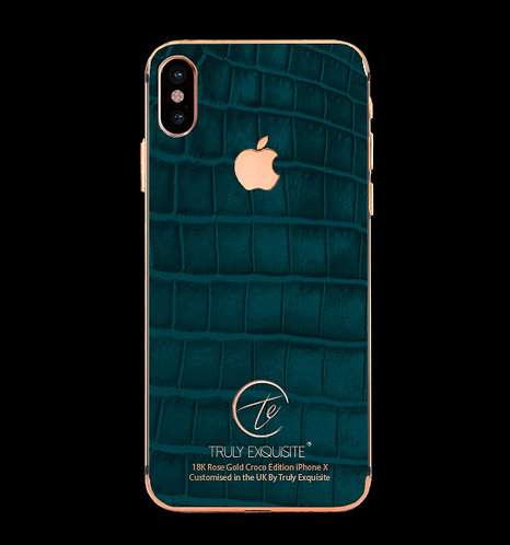 18K Rose Gold Turquoise Croco Edition iPhone X