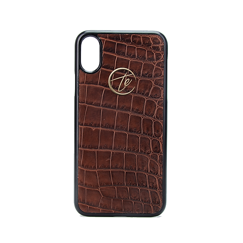 Brown Crocodile Leather iPhone XS/XS Max Phone Case