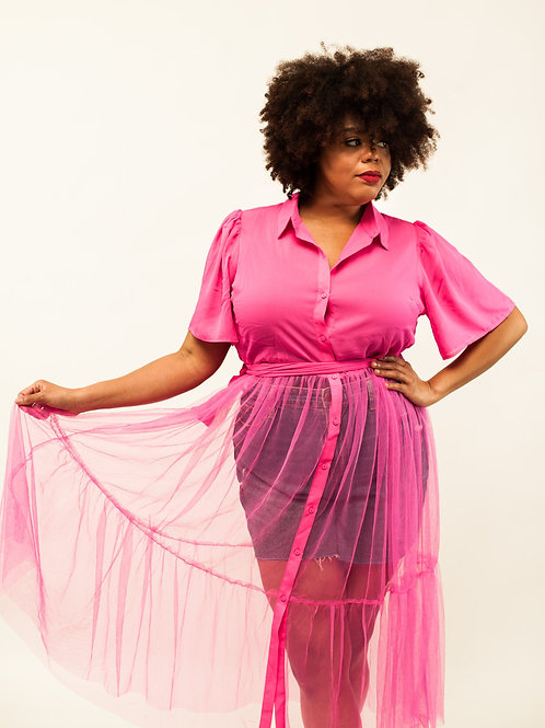 Pretty In Pynk Tulle Button Down Shirt