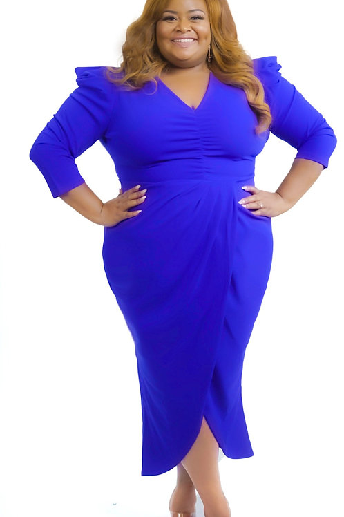 Something Blue Midi Dress With Accent Shoulders