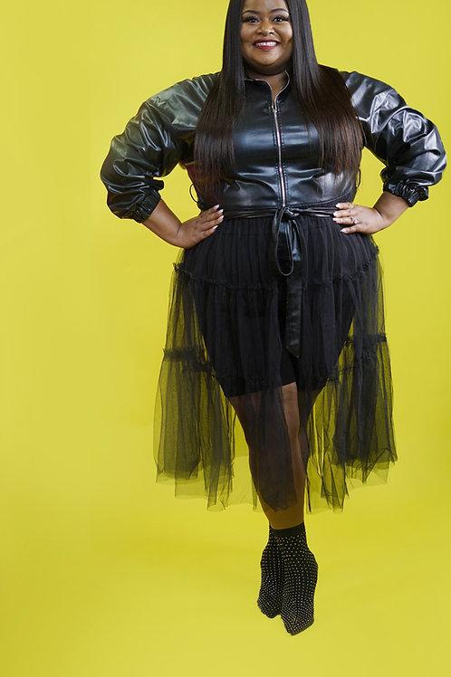 Va Voom Leather Tulle Blazer/Dress