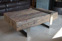 Table basse vieux bois inox