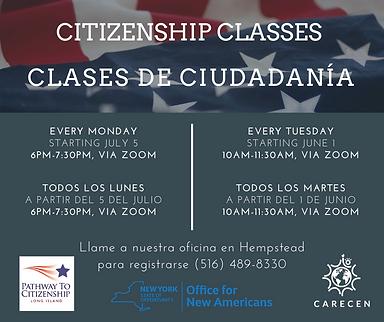 Citizenship Classes Flyer (Mondays and T