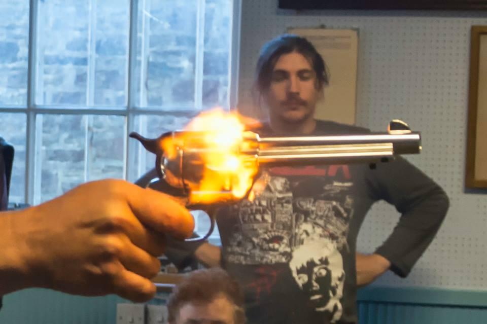 Close up gun fire
