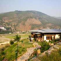 View from the front of Gangtey Palace, Paro
