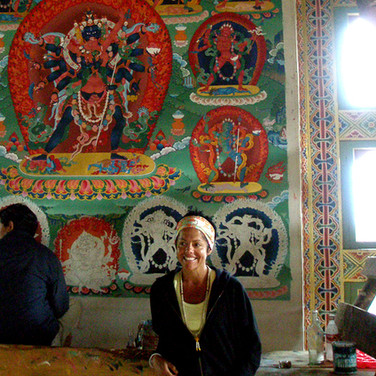Guest Camila at a temple mural painting