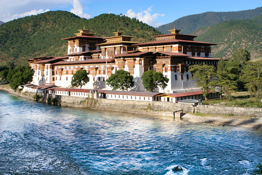 The beautiful and majestic Punakha Dzong straddles the Pho (male) and Mo (female) rivers in Punakha, Bhutan's ancient capital. From Bhutan Himalaya Expeditions archives