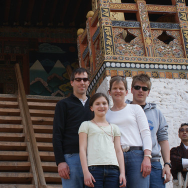 Guest Stephanie G and family at Punakha Dzong
