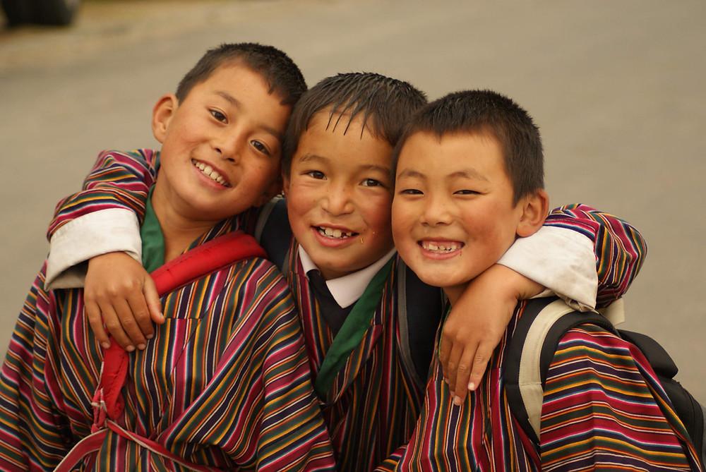 Happy schoolboys in Bhutan