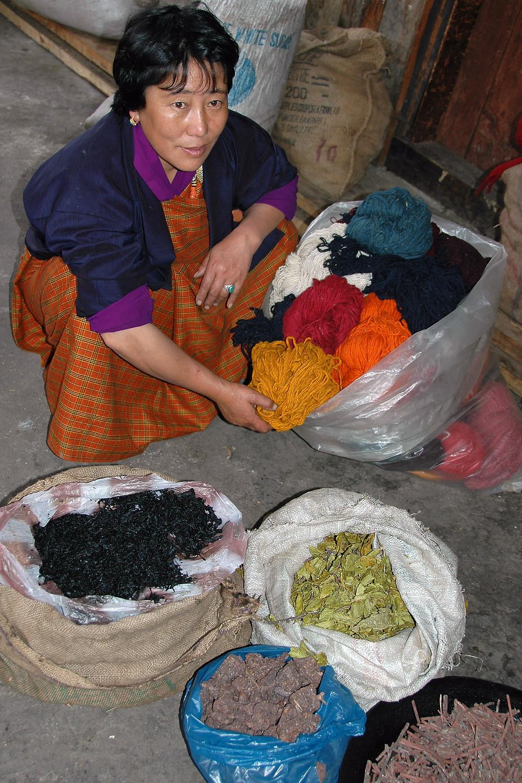 Weaver & entrepreneur Sonam Lhamo, explains dyeing methods, Bumthang