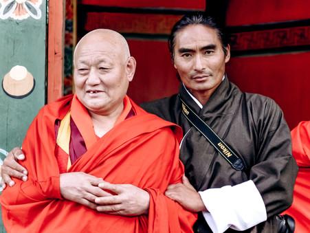 Karma Dorji, Travel Programs Coordinator (Right) with former tutor, Lama Dorji Wangchuk, the Head Abbot of Bumthang Kurje Monastery