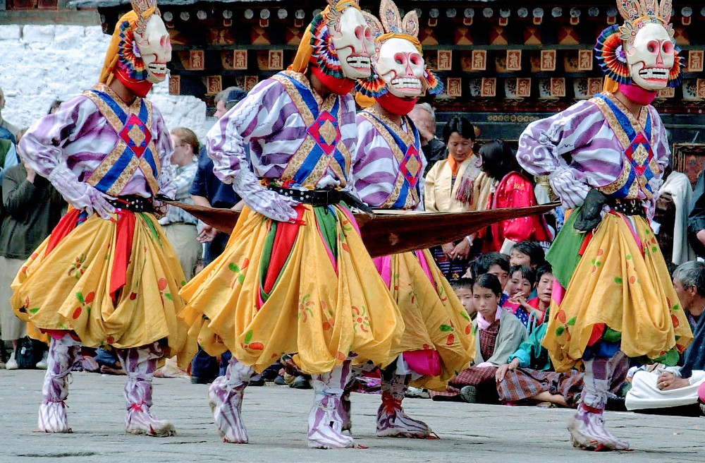 The Lords of the Charnel Grounds are seen not as malevolent ghosts but a class of supernatural beings who aid one's spiritual growth by destroying the human tendencies of clinging, ego-grasping and attachments that form the root obstacles to enlightenment. Mask Dances of Bhutan.
