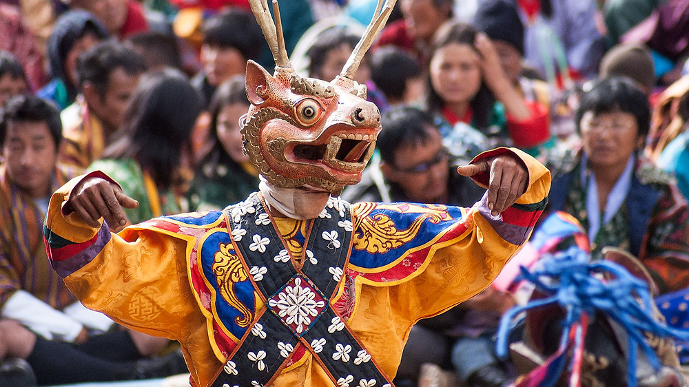 Shawa Shachi The Dance of Stags and Hounds, Mask Dances of Bhutan
