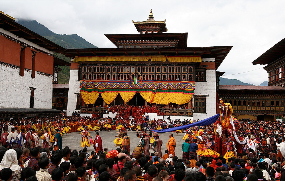 Performed on an epic scale, the Dance of the Judgment of the Dead begins with the towering Lord of Death's arrival. Mask Dance of Bhutan